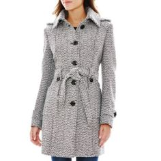 """<p>Top off your cold weather looks in our belted wool-blend coat with detachable hood and tie belt.</p><div style=""""page-break-after: always"""