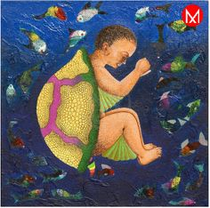 Painting shows a child with a turtle back and body sinking or maybe struggling under sea amidst hordes of fish in various sizes and colors. The message this home decorative art sends is that of creativity within children especially.  https://www.mivaarts.com/untitle-188.html #NoEmptyWalls #HomeDecor #WallPainting #VisualArt #MivaArts