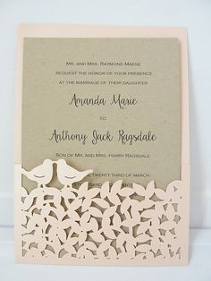 Laser Cut Wedding Invite Fall Wedding por LavenderPaperie1 en Etsy