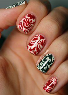 Dressed Up Nails - festive Christmas damask pattern nail art