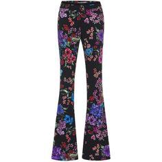 Zuhair Murad     Floral Cady Tuxedo Pants (49.820 RUB) ❤ liked on Polyvore featuring pants, suit, zuhair murad, black, slim fit pants, flare leg pants, slim tuxedo pants, flower print pants and slim trousers