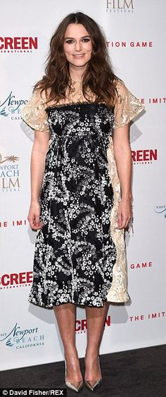 Seen it before: Keira wore the dress to The Imitation Game film private reception in Londo...