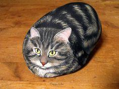 Happy rocks   -       peinture sur pierre   - Grandeur d'un vrai chat