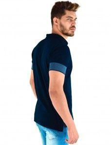 e563dcef16 Camisa Polo Masculina Punho Largo Azul (Azul Marinho)