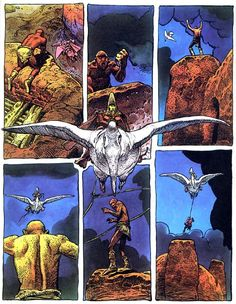 A panel taken from Arzach, a comic book collection of four wordless short stories.  The stories follow Arzach, a silent warrior who rides a pterodactyl-like creature through a strange, desolate landscape. The imagery and situations in Arzach are often compared to dreams or the subconscious.
