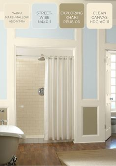 Are you looking for a light and airy color palette to finish off your bathroom renovation? Try BEHR paint in Warm Marshmallow cream, Streetwise blue, Exploring Khaki, and Clean Canvas white to create to create a serene and comfortable room.