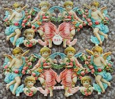 H s Victorian Antique Angel German Die Cut Scraps Uncut Lithograph Roses | eBay