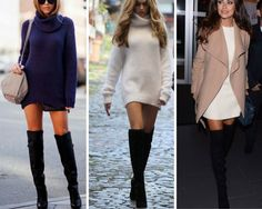 dress with over the knee boots | one of my favorites for an over the knee boot. A great sweater dress ...