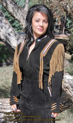 Hanna Black- Lady's Beaded & Fringed Suede Indian Western Jacket With Optional Skirt - This is a show stopper! Handmade in rich Cowhide Suede, this outfit will make you look great and feel really good! It's a great new design and work of art you wear! With exceptional bead work, extensive fringe trim, antiqued hair bone wrist-cuff trim and handmade fringed tassels. Review off of: http://www.indianvillagemall.com/hannacoatblack.html