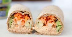 Try this Spicy Tuna Wrap recipe as an alternative to a spicy tuna roll. day fix tuna wrap) Fish Recipes, Seafood Recipes, Lunch Recipes, Cooking Recipes, Healthy Recipes, Healthy Lunches, Easy Meal Prep, Easy Meals, Tuna Wrap