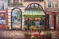 French Restaurant Parisian Bistro Cafe Art Oil Painting