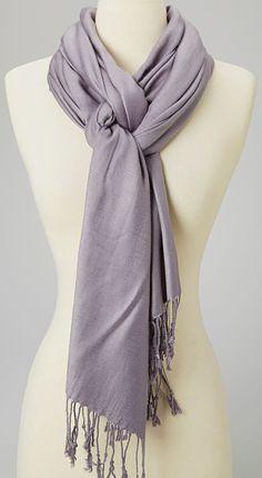 Silver Pashmina-Silk Blend Scarf