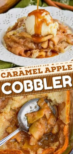 An amazing Thanksgiving dessert! This Thanksgiving sweet treat is always worth it. From the fresh apples coated in cinnamon to the most delicious caramel sauce, this easy homemade cobbler recipe is perfection!