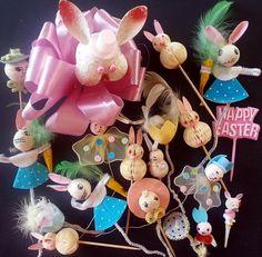 Vtg EASTER Spun Cotton Chenille Plastic BUNNY Rabbit EGG Corsage Craft Pick LOT