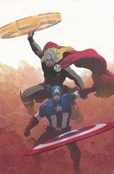 Captain America and Thor by Esad Ribic Marvel Comics Art, Marvel Comic Universe, Marvel Heroes, Comic Villains, Marvel Characters, Marvel Movies, Comic Books Art, Comic Art, All Avengers
