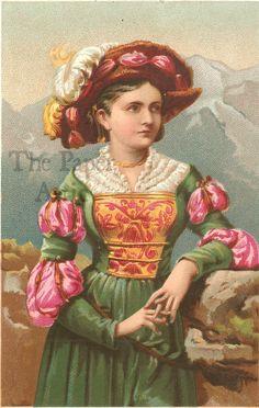 Renaissance Woman in Mountains Antique French Chromo Illustration Print