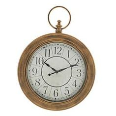 PLASTIC WALL CLOCK IN BRASS COLOR 44X6X59