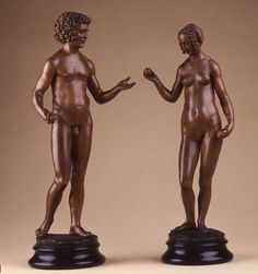 Adam and Eve by Conrad Meit 1510. Boxwood, details accentuated with colour