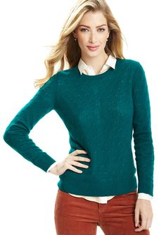 CHRISTOPHER FISCHER Cashmere Jewel Neck Cable Sweater