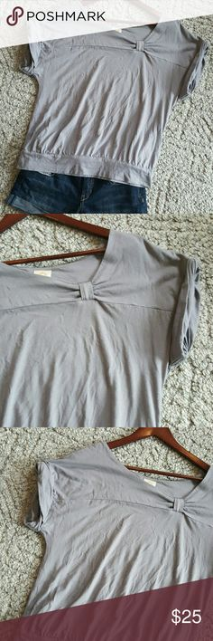"""Anthropologie gray short sleeve top *Ric Rac* Crew neck with a knot on the left side. Rolled dolman style sleeves 44""""bust 20"""" length Anthropologie Tops Blouses"""