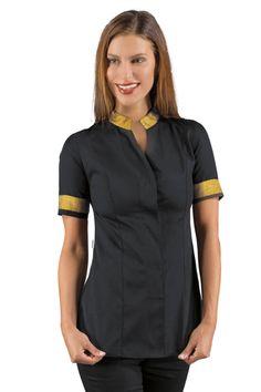 Achetez la tunique esthéticienne noire et dorée manches courtes de ISACCO, vendue sur la boutique mylookpro.com dans la catégorie Tunique manches courtes. Idéal pour les métiers de l'esthétique ou du médical, on adore cette blouse professionnelle féminine et mode. Excellent rapport qualité prix.