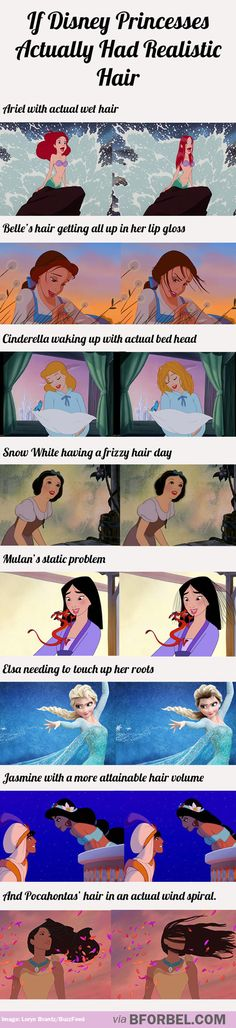 If Disney princesses actually had realistic hair... This is too amazing!