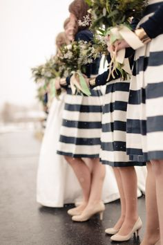 Stripy bridesmaids. Visit www.rosetintmywedding.co.uk for bespoke wedding planning and styling UK.