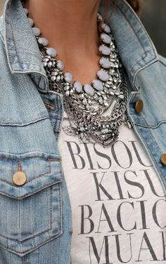 denim jacket + graphic tee + layered necklaces.