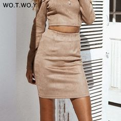 85e0fa72c41 WOTWOY High Waist Suede Leather Skirt Women Summer Office Lady Mini Skirts  Women 2018 High Quality
