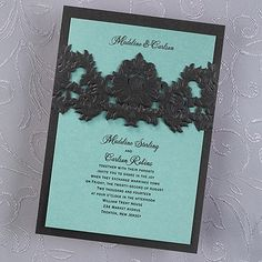 Opulent Filigree Invitation - Onyx with Lagoon Shimmer available in many pretty shimmer colors By An Inviting Event www.aninvitingevent.carlsoncraft.com