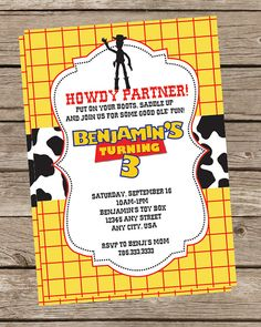 Toy Story Invitation or Invite  Woody Jessie by TwoTinyLoves, $15.00