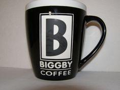 Biggby Coffee Cup Ceramic Collectible Large Black & White 18 oz Mug Raised Logo CoffeeMugCup Biggby Coffee, Large Black, Black And White, Modern Mugs, Starbucks, Coffee Cups, Branding, Ceramics, Logo