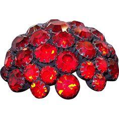 Warner 3-D Round Domed Ruby Red Rhinestones Black Metal Brooch