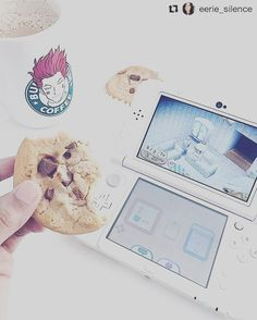 Fav 3DS game?   Credit @eerie_silence  #nintendo #3ds #game #cookie #white #console #coffee