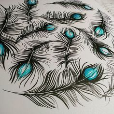 a fine feathered pattern with a pop of color ( photo credit Leoni Pfeiffer) Feather Pattern, Pen Art, Zentangle, Photo Credit, Pens, Color Pop, Fountain, Turquoise, Inspiration