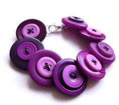 Purple bracelet, button, buttons, aqua, dark blue, handmade, matching, quirky