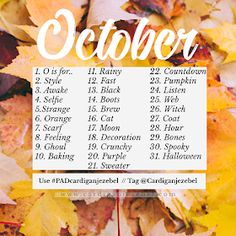 October 2018 photo a day challenge photography prompt list for Autumn photography challenge Cardigan Jezebel: Photo Challenge Halloween Photography, Autumn Photography, Photography Tips, Iphone Photography, Urban Photography, White Photography, 30 Days Photo Challenge, Art Challenge, Instagram Challenge