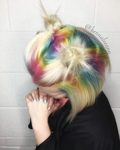 Pastel rainbow shadow roots by kennaleeann #hair #pastelshadowroots #pastel #shadow #root #rainbow #balayage