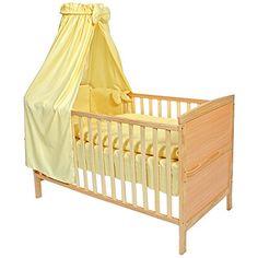 recomendable TecTake Cama de bebé con dosel cuna infantil madera amarillo