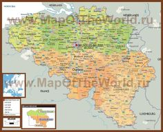 Политическая карта Бельгии с городами