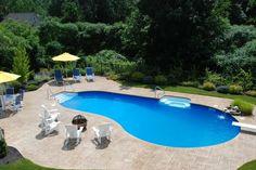 backyard with inground pool and diving board | Inground Pools Photos