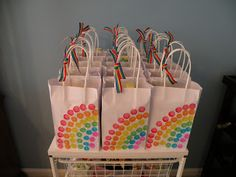Bridging bag from Brownies to Juniors.  The girls could decorate these ahead of time and then leader could put in a brownie and junior mint to show how the move along with any other little goodies.