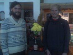"""Jacob Perkins, L. Matt Nelson, R. Flowers brought by these two lovelies. Bottle says, """"c'est la vie."""" Is it ever!"""