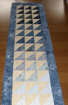 Blue Quilted Table Runner Table Runner Quilt Blue Yellow