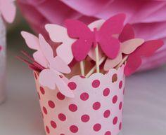 10 décorations papillons pour petits gâteaux (cupcakes toppers )- rose et fuchsia