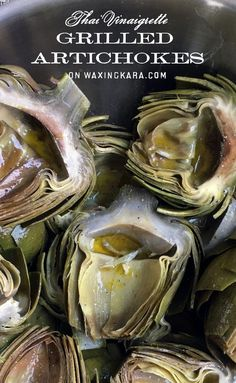 Grilled Artichokes served with Thai Honey Vinaigrette Honey Recipes, Whole Food Recipes, Cooking Recipes, Healthy Recipes, Healthy Food, Dipping Sauce For Artichokes, Roasted Garlic Cloves, Grilled Artichoke, Beef Wellington