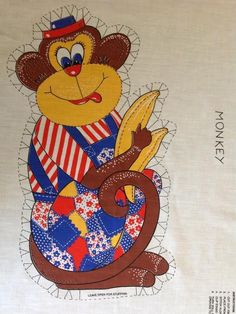 Vtg Cut and Sew Monkey Fabric Panel Pillow Toy 1970s Easy Beginner Project