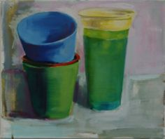 Plastic Beakers #5 oil on canvas 23x30cm