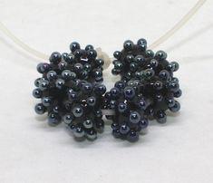 Set 8 Rondelle Beads, 8 mm x 12 mm, Black Steel Metallic, Glossy Opaque Beads, Handmade Lampwork Glass Beads, Silver Raised Dots