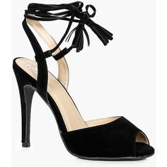 Boohoo Hannah Peeptoe Wrap Strap Detail Heels ($40) ❤ liked on Polyvore featuring shoes, sandals, evening shoes, peep toe sandals, jelly sandals, evening sandals and strappy high heel sandals
